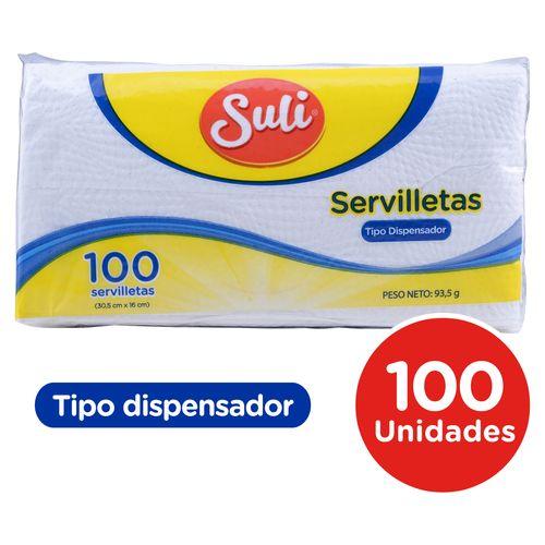 Servilleta Suli Dispensador Blanca - 100 Unidades